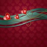 Piękny trzy czerwonego diamentowego serca Zdjęcia Royalty Free