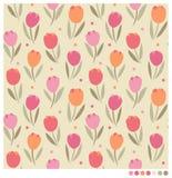 Piękny tulipan kwitnie bezszwowego tło Zdjęcie Stock