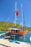 Piękny Turecki jacht cumujący quay Obraz Royalty Free