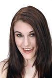Piękny, Uśmiechnięty brunetki Headshot, Obrazy Royalty Free