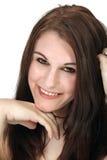 Piękny, Uśmiechnięty brunetki Headshot, Zdjęcie Stock