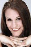 Piękny, Uśmiechnięty brunetki Headshot, Obraz Royalty Free