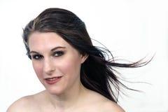Piękny, Uśmiechnięty brunetki Headshot, Obrazy Stock
