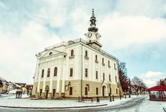 Piękny urząd miasta w głównym placu, Kezmarok, Sistani, stary filt Zdjęcia Stock