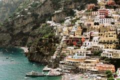 Piękny Włochy krajobraz - Positano wioski widok z lotu ptaka zdjęcie royalty free