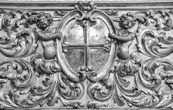 Piękny Włoski tradycyjny wewnętrzny ornament robić złoto i drewno Zdjęcie Stock