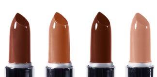 Piękny wargi makeup set Horyzontalny makro- strzał z jaskrawymi lipticks Mod warg makijażu kolekcja Zdjęcia Stock