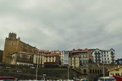 Piękny Warowny miasteczko Brać Od Swój Pięknego schronienia Getaria zdobycz Architektura wieków średnich podróż Zdjęcie Royalty Free