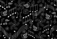 Piękny wektorowy bezszwowy wzór z śpiewackimi ptakami i muzykalnymi notatkami ilustracji