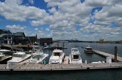 Piękny widok łodzie Dokować w Boston schronieniu Obraz Stock