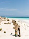Piękny widok błękitny niebo od piaskowatej plaży i ocean Fotografia Royalty Free