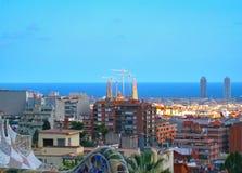 Piękny widok Barcelona, od Parkowego Guell kapitał Catalonia, Hiszpania zdjęcie royalty free