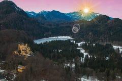 Piękny widok Bawarscy alps przy wschodem słońca w zimie Fotografia Stock