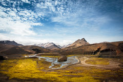 Piękny widok dolina i rzeka w Iceland Fotografia Stock
