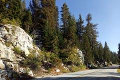 Piękny widok droga, las, góry w Yosemite parku fotografia royalty free