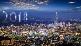 Piękny widok druning ładnego czas Taipei miasto, Tajwan fotografia stock
