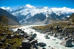 Piękny widok góry Cook park narodowy, Południowa wyspa, Nowa Zelandia Fotografia Stock