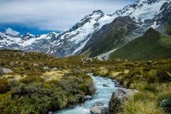 Piękny widok i lodowiec w górze Gotujemy parka narodowego, Południowa wyspa Fotografia Royalty Free