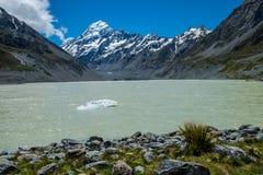 Piękny widok i lodowiec w górze Gotujemy parka narodowego, Południowa wyspa Fotografia Stock