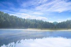 Piękny widok idylliczny kolorowy jesieni scenerii szczyt odbija w krysztale - jasny jezioro w Wata San Chan Lasowym rezerwuarze,  zdjęcia royalty free