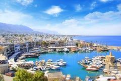 Piękny widok Kyrenia zatoka w Kyrenia Girne, Północny Cypr Obrazy Stock