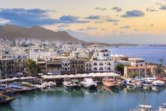 Piękny widok Kyrenia zatoka w Kyrenia Girne, Północny Cypr Obrazy Royalty Free