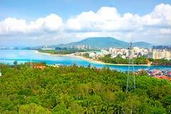 Piękny widok laguna z białym piaskiem drzewkami palmowymi i, turkusowy morze najlepszy widok Zdjęcie Royalty Free