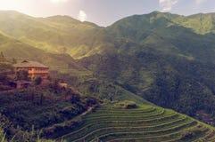 Piękny widok Longsheng Rice Tarasuje blisko Dazhai wioska w prowinci Guangxi, Chiny obraz stock