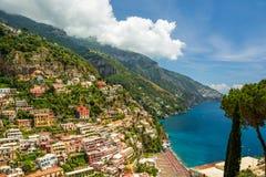 Piękny widok miasteczko Positano, Italy fotografia stock