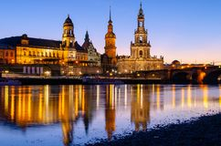 Piękny widok na architekturze Drezdeński przy wieczór, Niemcy Fotografia Stock