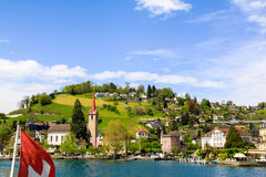 Piękny widok na mieście jezioro fotografia royalty free