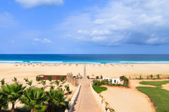 Piękny widok na plaży i oceanie, Boavista, przylądek Fotografia Stock
