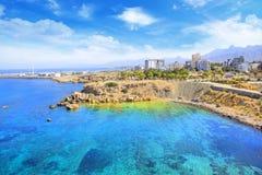 Piękny widok nowy port Kyrenia Girne, Północny Cypr Obrazy Stock