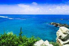 Piękny widok plaża przy Cabo San Juan, Tayrona Naturalny park narodowy, Kolumbia Zdjęcie Royalty Free