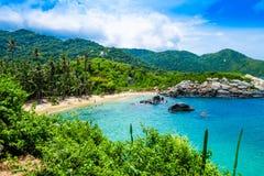 Piękny widok plaża przy Cabo San Juan, Tayrona Naturalny park narodowy, Kolumbia Obrazy Stock