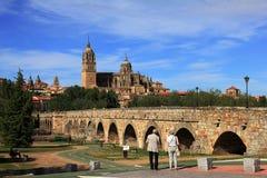 Piękny widok podbiegu romanian most i katedra Salamanca zdjęcie stock