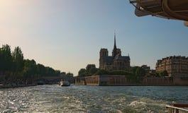 Piękny widok Sqare Jean XXIII i Notre Damae katedra lub Notre-Dame De katolik kościół w cytującej wyspie, Paryż fotografia stock