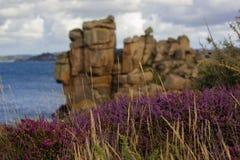 Piękny widok w Cote De Granit Wzrastający w Bretagne, Francja fotografia royalty free