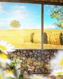 Piękny widok z drewnianą ścianą, osamotniony drzewo Zdjęcia Royalty Free