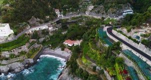 Piękny widok z lotu ptaka Amalfi wybrzeże w Italy zdjęcie wideo