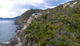 Piękny widok z lotu ptaka Cinque Terre Włochy - Pięć ziemi - Obraz Stock