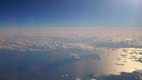 Piękny widok z lotu ptaka cloudscape od niebo pozioma, pokazuje jak sceneria chmur ruszać się zbiory
