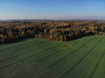 Piękny widok z lotu ptaka lithuanian krajobraz przy jesienią obrazy royalty free