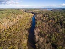 Piękny widok z lotu ptaka mała rzeka w lesie Obrazy Royalty Free