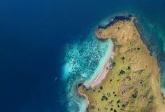 Piękny widok z lotu ptaka plaże w Flores wyspie, Indonezja zdjęcie stock