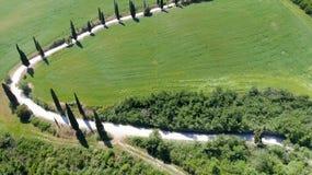 Piękny widok z lotu ptaka Tuscany wzgórza, Włochy w wiośnie fotografia stock