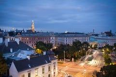 Piękny widok z lotu ptaka Wiedeń citycentre przy zmierzchem fotografia royalty free