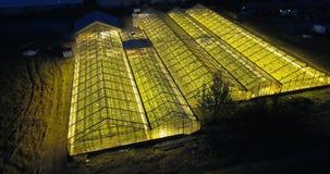 Piękny widok z lotu ptaka wielka szklarnia z światłem w nim Ekologiczny rolny jaśnienie w ciemnej nocy zbiory wideo