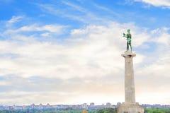 Piękny widok zabytek zwycięzca blisko Belgrade fortecy w Belgrade, Serbia Zdjęcie Stock