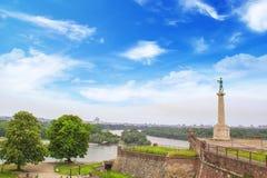Piękny widok zabytek zwycięzca blisko Belgrade fortecy w Belgrade, Serbia Zdjęcie Royalty Free